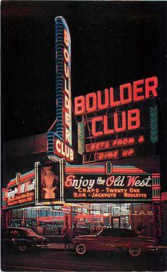 NV Las Vegas Nevada Boulder Club Casino Night View 50s Cars CP No P9011 | eBay