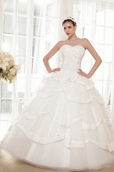 Luxurious Sweetheart Ball Gown Floor Length Ivory Wedding Dresses With Lace Up Back Drop Waist Wedding Dress, Sweetheart Wedding Dress, Tea Length Wedding Dress, Tulle Ball Gown, Ball Dresses, Ball Gowns, Evening Dresses, Prom Dresses, Wedding Dresses 2014