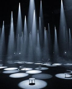 Here the lights are set at different intensities and focused straight down. The cones of light and the circles of light on the ground create a cool pattern distribution. Stage Lighting Design, Stage Set Design, Theatre Design, Event Lighting, Bodega Hotel, Bühnen Design, Scenic Design, Dark Fantasy Art, Light Art