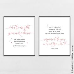 0b816784084 Newborn Baby Quotes Blush Pink Wall Art - On The Night You Were Born -  Printable great as Newborn Girl Decor