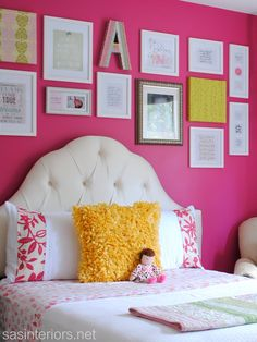 Big Girl Bedroom via sasinteriors.net bedroom makeovers, decorating ideas, color patterns, girl bedrooms, pink, big girl rooms, big girls, bright colors, accent walls