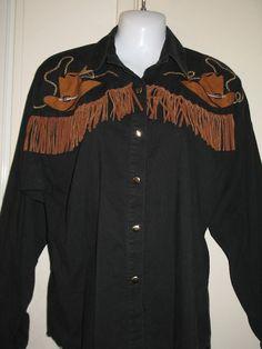 Western Attitude by Lilia Suity Womens Vintage Black & Brown Jacket, Medium #WesternAttitude #BasicJacket
