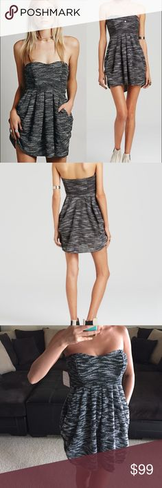 Free people tweed tube dress SZ XS Brand new with tag. Super soft tweed dress from Free People. Pockets in front. Gel band on top to help from slipping. Super cute. Size XS. NO TRADES, NO HOLDS, NO LOW OFFERS USE THE OFFER BUTTON‼️ I WILL NOT RESPOND TO OFFERS IN THE COMMENTS SECTION‼️ Free People Dresses Strapless