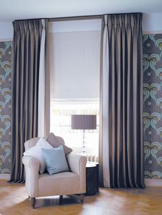 Interlined Triple Pinch Pleat Linen Chintz Curtains on Lath & Fascia