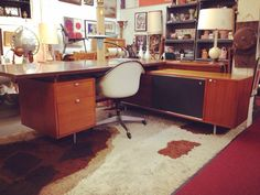 Herman Miller Executive Desk with side credenza.