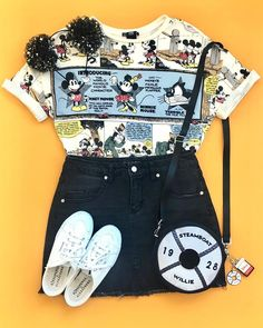 Cute outfit – retro Mickey Mouse slogan tee and denim mini skirt Disney World Outfits, Cute Disney Outfits, Disney Themed Outfits, Cute Outfits, Disney Clothes, Teen Fashion Outfits, Outfits For Teens, Trendy Outfits, Summer Outfits