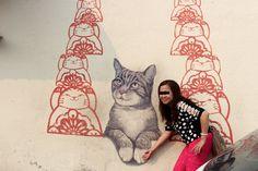 Street art with random people in Penang - journeytodesign.com