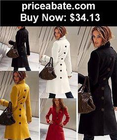 Women-Coats-And-Jackets: Fashion Women Winter Warm Wool Long Sleeve Slim Fit Trench Coat Outwear Jacket - BUY IT NOW ONLY $34.13
