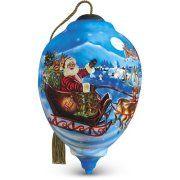 Ne'Qwa LE Santa's Magic Flight Reverse Painting Glass Christmas Ornament 7161120