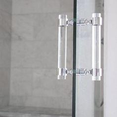Lucite Shower Door Pull Handles (PAIR) - Brass, Satin Brass ...