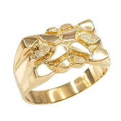 High Polish 10k Yellow Gold Textured Nugget Ring for Men Size 10 * Be sure to check out this awesome product.