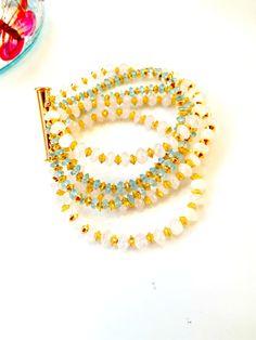 Multi strand braceletgold beaded by JewelleryByEmmaQuinn on Etsy