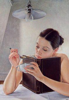 """Reader"" - Francis Hove {contemporary figurative realism art beautiful female…"