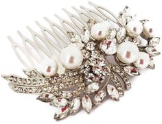 Beautiful Vintage Style Crystal & Pearl Bouquet Hair Comb Slide Bridal Prom