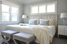 A light and sophisticated master bedroom designed by us at Enviable Designs.