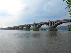The Columbia Wrightsville Bridge across the Susquehanna River that divides Lancaster County from York County PA.