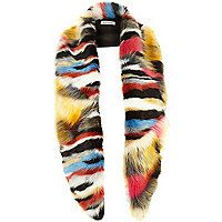 Multi coloured faux fur stole