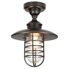Hampton Bay Dual Purpose 1-Light Outdoor Hanging Oil Rubbed Bronze Pendant or Flush Mount Lantern-DYX1701A - The Home Depot