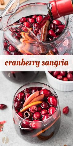 Cranberry Sangria is a refreshing holiday sangria with fruity red wine, fresh cranberries and warm cinnamon spice. It's perfect for entertaining! via Flavor the Moments Cranberry Sangria, Red Sangria Recipes, Christmas Sangria, Christmas Wine, Drinks Alcohol Recipes, Holiday Drinks, Yummy Drinks, Wine Recipes, Holiday Recipes