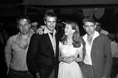 Elia Kazan, Marlon Brando, Julie Harris and James Dean.