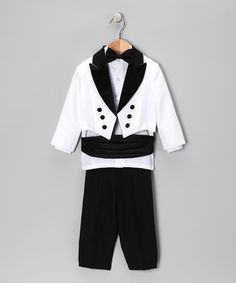 Take a look at this Black & White Five-Piece Tuxedo Set - Infant, Toddler & Boys by Lida on #zulily today!