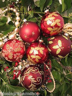 Christmas Glass Baubles Set 6 Ruby Red Gold Beautiful Vintage Style Decoration | eBay