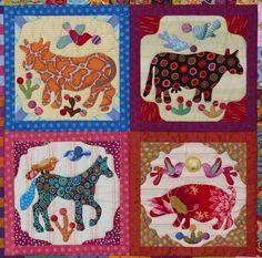 Pandemonium Quilt, detail of animals block, by Kim McLean at Glorious Applique