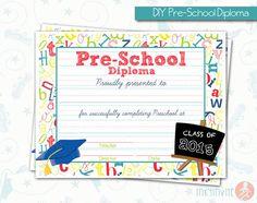 kindergarten pre k diplomas editable autism pinterest