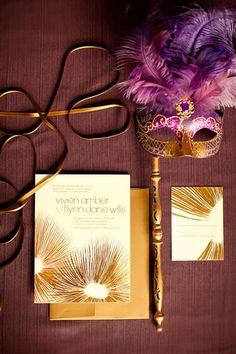 masquerade purple gold #watters #wedding #purple www.pinterest.com/wattersdesigns/