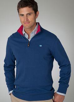 1/4 Zip Pullover w/ Contrast Collar - Regal Blue $99 www.BellasBoutiqueBainbridge.com #SouthernTide #Skipjack