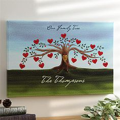Personalized Family Tree Watercolor Canvas Art - Love the little heart shaped flowers that have each family members name on it. A Valentine's Day gift Grandma will treasure! Watercolor Canvas, Watercolor Trees, Acrylic Canvas, Diy Canvas, Canvas Art, Canvas Prints, Canvas Ideas, Canvas Paintings, Personalised Family Tree