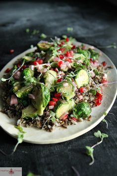 Wild Rice Salad with Brussels Sprouts and Pomegranate Vinaigrette #anthropologie #pintowin
