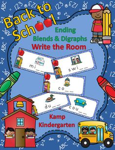 Back to School Beginning Trigraphs Write the Room Blends And Digraphs, Phonics Blends, Phonics Lessons, Common Core Ela, Little Learners, School Themes, Word Pictures, Picture Cards, Kindergarten Activities