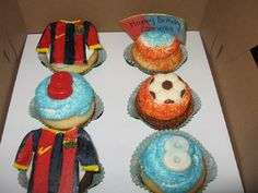 Cameron's 8th Birthday Cupcakes_Soccer/Barcelona FC themed!!!
