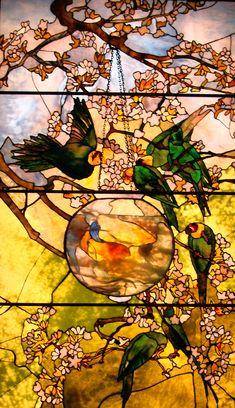 """PARAKEETS and GOLD FISH BOWL"", c. 1893 Louis Comfort Tiffany, (1848-1933)"