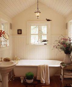 .Lilac Lane Cottage: Cottage Bathroom Inspiration - slanted ceilings, claw foot tub, pedestal sink