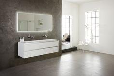 Spiegel Met Klok : 15 beste afbeeldingen van badkamermeubel frozen: greeploos en mat