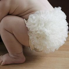White Chiffon Ruffle Bum Baby Bloomer  Baby by CutieButtsBoutique, $10.95