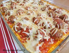 Meatball Sub Casserole - recipe calls for readymade frozen meatballs but I think this would be awesome with my own homemade meatballs...
