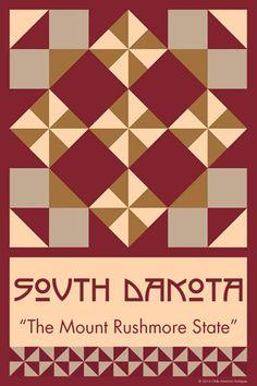 SOUTH DAKOTA quilt block.  Ready to sew. Single 4x6 block $4.95.