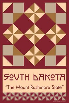 SOUTH DAKOTA quilt block. Ready to sew. Single 4x6 block $4.95.