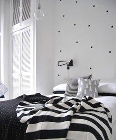 Black dots on bedroom wall polka dot wall decals, polka dot walls, polka do Monochrome Bedroom, Bedroom Black, Dream Bedroom, Home Bedroom, Bedroom Decor, Bedroom Ideas, Bedroom Designs, Master Bedroom, Estilo Interior