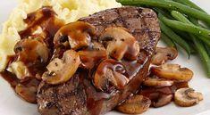 This grilled tenderloin steak and mushrooms dish is prepared simply but packs huge, beefy flavors. Beef Tenderloin Steak Recipe, Grilled Beef Tenderloin, Sirloin Steaks, Steak And Mushrooms, Stuffed Mushrooms, Stuffed Peppers, Mushroom Dish, Mushroom Recipes, Mushroom Sauce