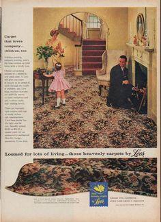 """Description: 1960 LEES CARPET vintage magazine advertisement """"Carpet that loves company"""""""
