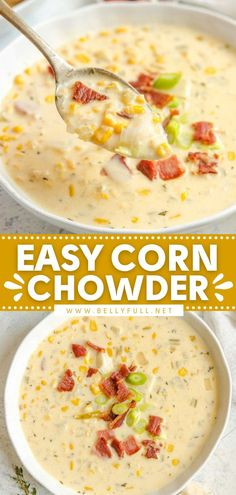 A soup recipe to enjoy year-round! You'll want a big bowl of this comfort food. Not only is this homemade corn chowder creamy, but it also has the flavorful additions of potato, bacon, and cheese… Best Soup Recipes, Chowder Recipes, Easy Delicious Recipes, Vegetarian Recipes Easy, Bacon Recipes, Milk Recipes, Cooking Recipes, Potato Recipes, Easy Recipes