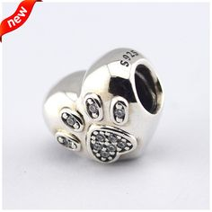 Heart Paw Silver Charm With CZ 925 Sterling Silver Fits Pandora