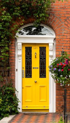 Golden yellow door in Dublin, Ireland.
