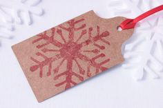 Laser Cut, Hand Printed Snowflake Christmas Gift Tag. Available On Etsy.