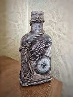 Wine Bottle Crafts, Bottle Art, Liquor Bottles, Glass Bottles, Lace Mason Jars, Magazine Crafts, Custom Bottles, Diy Clay, Fun Crafts