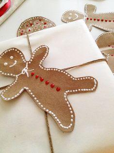 DIY paper bag gingerbread men and festive embellishments